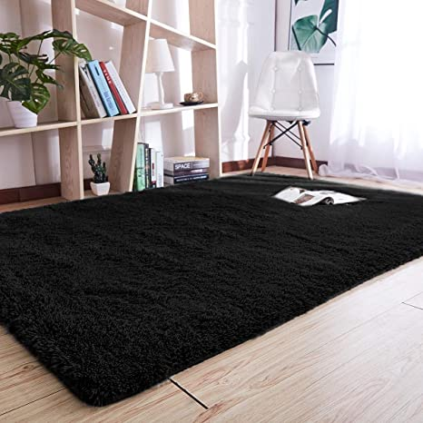 Amazon.com: Noahas Super Soft Modern Shag Area Rugs Fluffy Living Room  Carpet Comfy Bedroom Home Decorate Floor Kids Playing Mat 4 Feet By 5.3  Feet (Black): ...