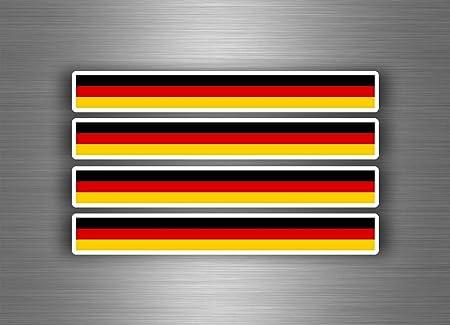 Akachafactory 4 X Selbstklebend Sticker Auto Moto Stripes Flagge Tuning Deutschland Deutsch Auto