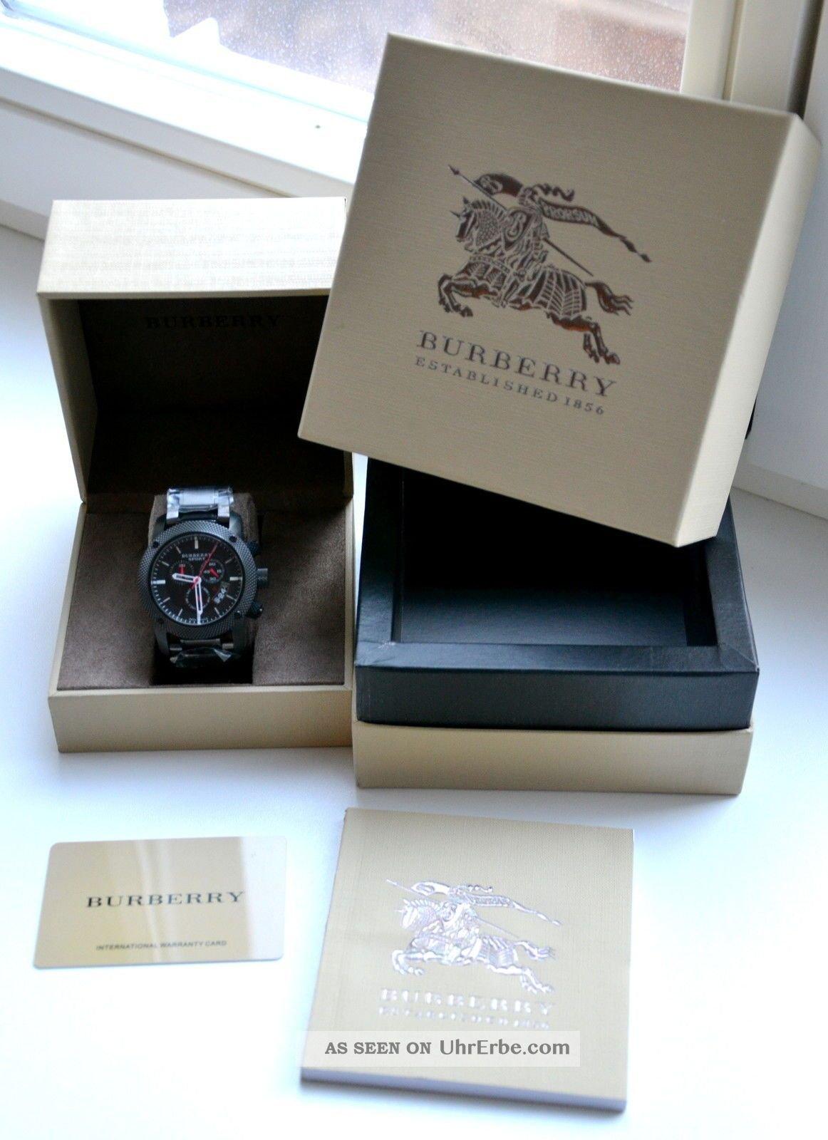 B u r b e r r y Sport Chronograph Black Dial Black Rubber Mens Watch BU7703