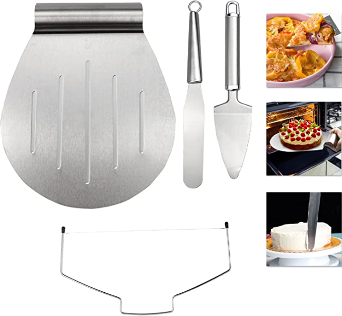 Gifort 4 en 1 Espátula para tarta Set,on paleta y cortador para tartas, y paleta triangular de acero inoxidable - Lira para tartas,Set de espatulas para reposteria.: Amazon.es: Hogar