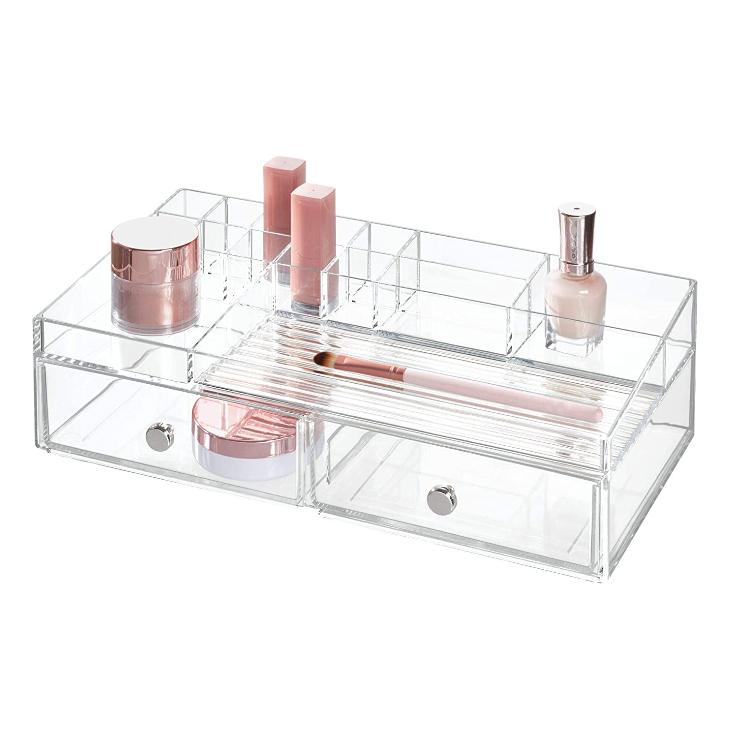 InterDesign 2 drawer Cosmetic Organizer for Vanity Cabinet To Hold Makeup, Beauty Products – Clear