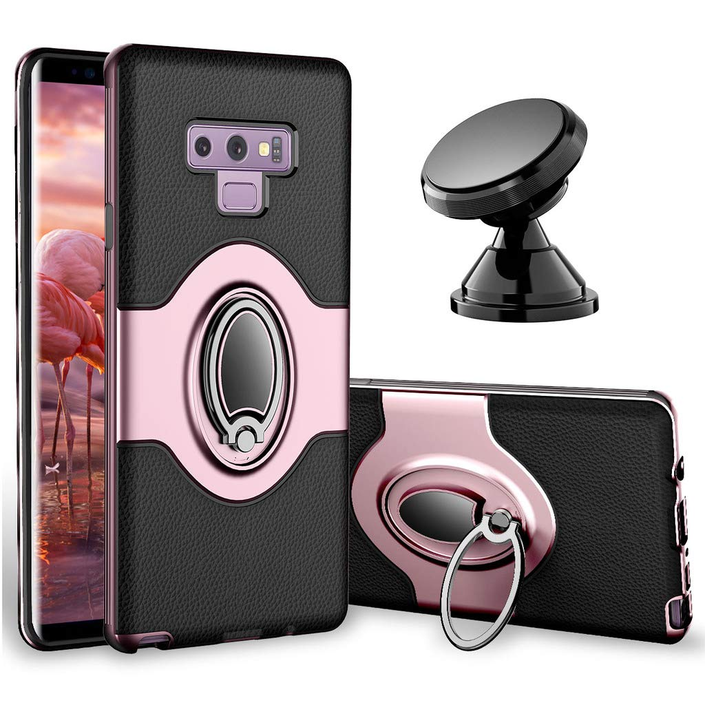 Samsung Galaxy Note 9 Case - eSamcore Ring Holder Kickstand Cases + Dashboard Magnetic Phone Car Mount [Rose Gold]