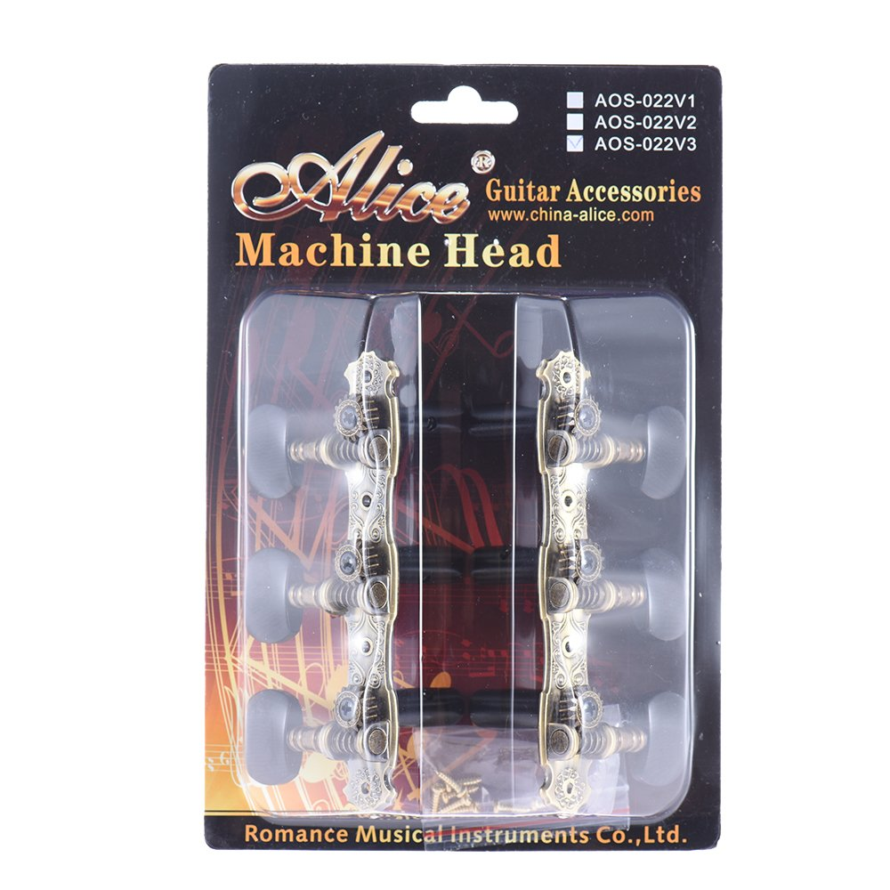 Andoer Alice AOS-022V1P 2pcs(L&R) High-Grade Gold-plated Acoustic Classical Guitar Machine Heads Tuning Keys Pegs String Tuners Tuning Peg