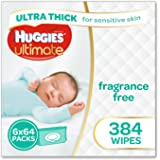 Huggies Ultimate Sensitive Skin Baby Wipes Bundle Pack (Pack of 384)