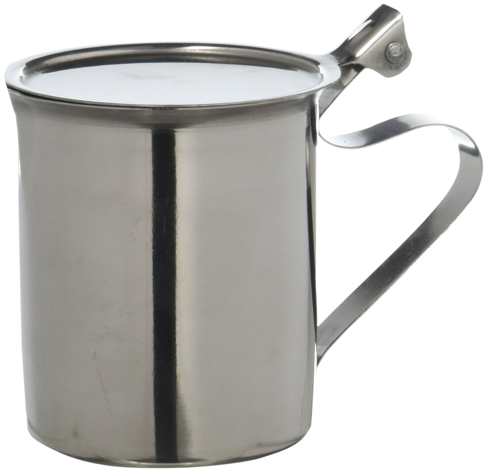 Winco SCT-10F Stainless Steel Stackable Creamer with Flat Cover, 10-Ounce