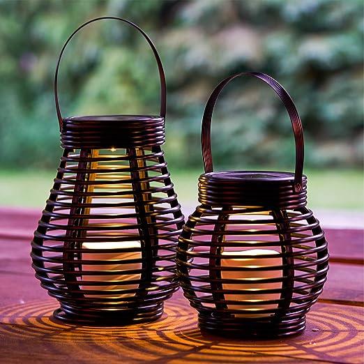 GloBrite - Juego de 2 farolillos de jardín de ratán con energía solar LED - Linternas redondas y altas: Amazon.es: Iluminación