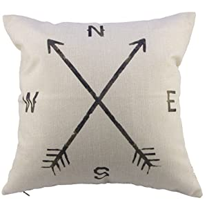 Leaveland Magic Arrow Compass North South West East 18x18 Inch Cotton Linen Square Throw Pillow Case Decorative Durable Cushion Slipcover Home Decor Standard Size Accent Pillowcase