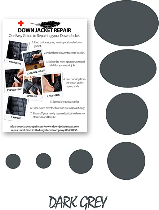 Down Jacket Repair Kit de parches (autoadhesivo) 17 colores (gris oscuro): Amazon.es: Deportes y aire libre