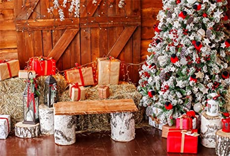 csfoto 10x7ft background for christmas decorations merry christmas photography backdrop retro lamp hay bales gift boxes - Merry Christmas Decorations