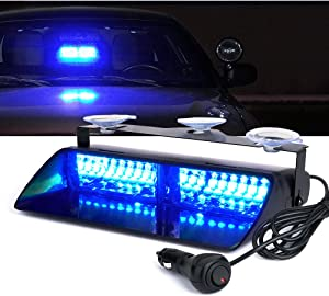 Xprite 16 LED Law Enforcement Emergency Hazard Warning Strobe Lights for Interior Roof/Windshield w/Suction Cups-Blue