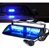 Xprite Blue 16 LED High Intensity Emergency Hazard Warning Strobe Lights w/Suction Cups for Police Volunteer Firefighter…