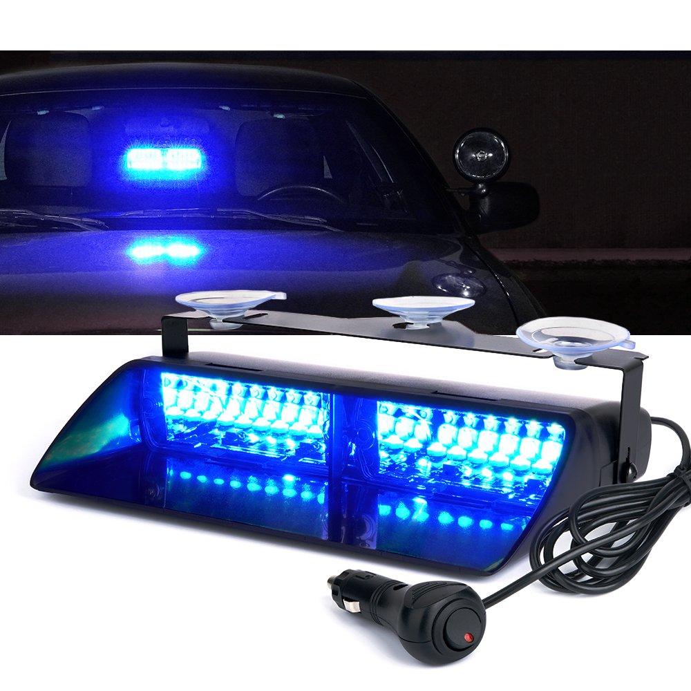 Xprite 16 LED High Intensity LED Windshield Emergency Hazard Warning Strobe Lights - Blue
