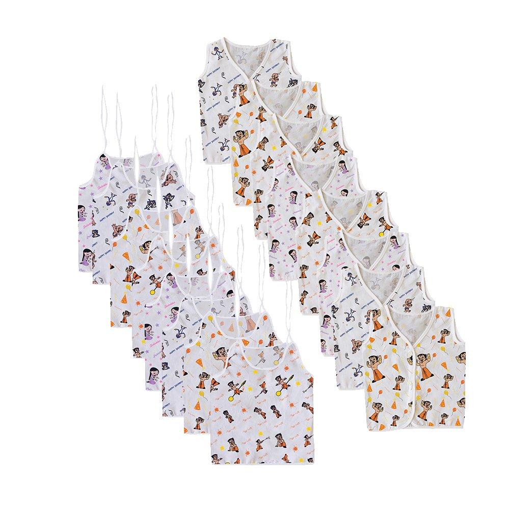 Chhota Bheem Baby Printed Cotton White Color V-Neck Sleeveless Jhabla. LNLCHJB004