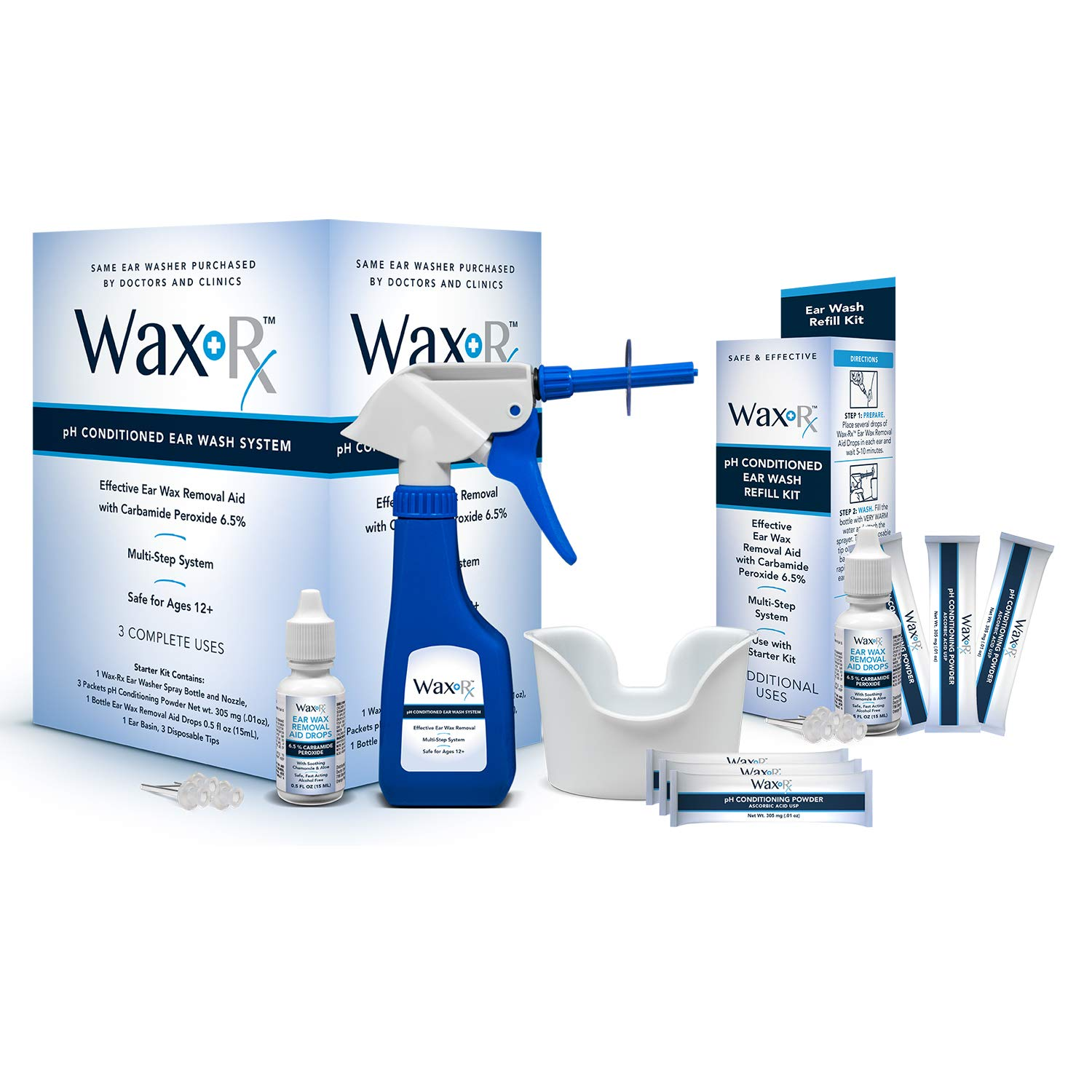 Doctor Easy Wax-Rx pH Conditioned Ear Wash System (with Refill Kit)