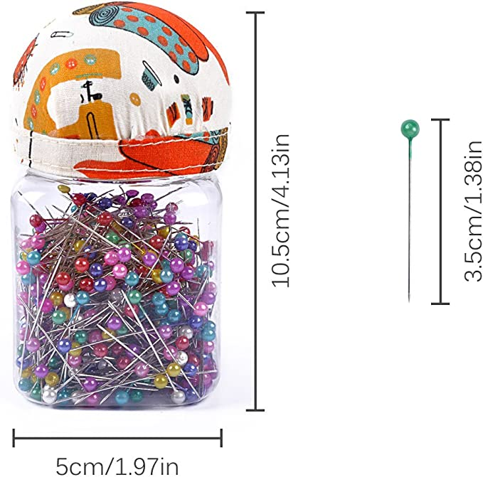 eZAKKA 500pcs Sewing Pins 38mm Multicolor Ball Head Pins Quilting Pins in Plastic Storage Jar Containers with Pin Cushion Lid for Dressmaking Jewelry Components Flower Decoration Orange