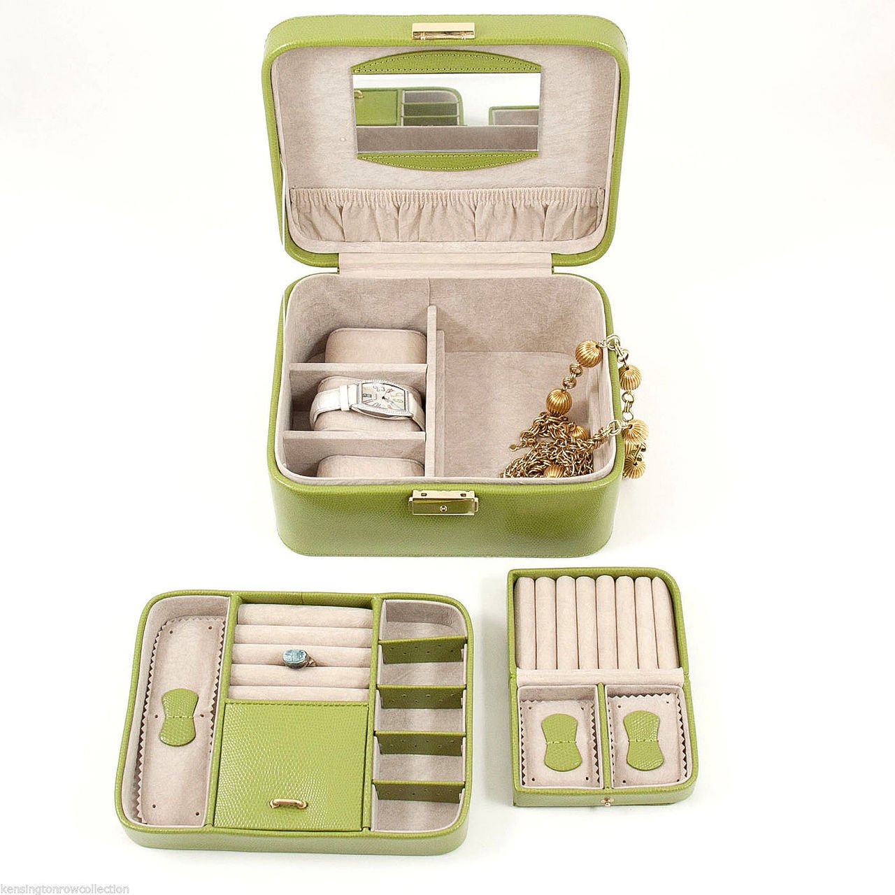 ''ESSEX'' LIME LEATHER JEWELRY BOX WITH REMOVABLE VALET & TRAVEL CASE