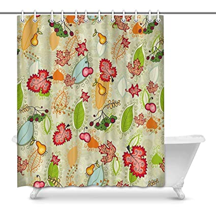 Amazon INTERESTPRINT Autumn Leaves Bathroom Shower Curtain