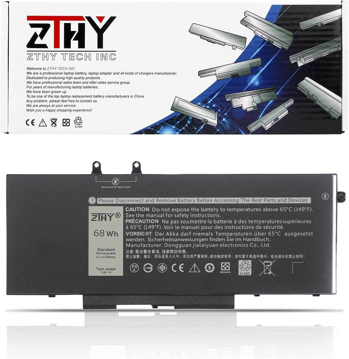 ZTHY 68Wh 4GVMP Laptop Battery Replacement for Dell Latitude 5400 5410 5500 5510 Precision 3540 3550 Inspiron 7590/7591/7791 2-in-1 Series 1V1XF X77XY R8D7N 9JRYT 09JRYT 7.6V 4-Cell