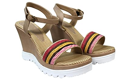 242bdf102ae Cordwain MG02 Cream Colored Fashion Wedges Heel Sandals For Womens ...