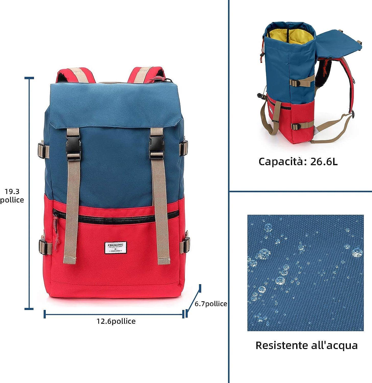 KINGSLONG Rucksack Wasserdicht und Langlebig Outdoor Rucksack Reiserucksack Unisex 15,6 Zoll Laptop Rucksack Casual Rucksack Herren Multi-Color Wahl