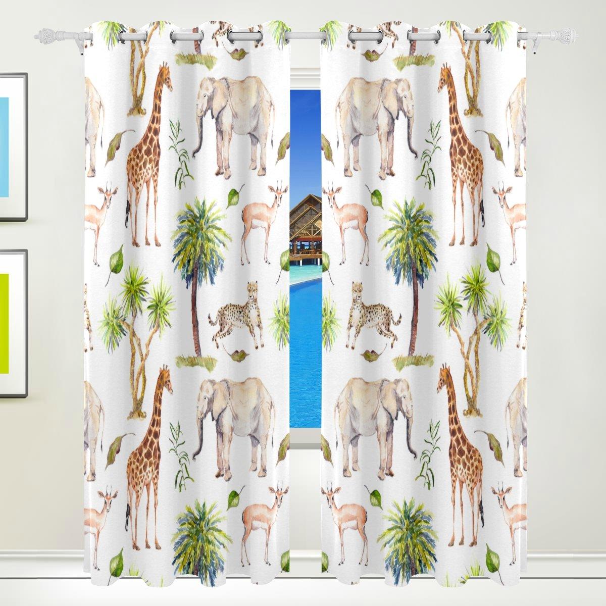 Vantaso Window Curtains 84 Inch Long Forest Animal Elephant Deer Giraffe for Kids Girls Boys Bedroom Living Room Polyester 2 Pannels