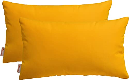 RSH D cor Set of 2 Indoor Outdoor Decorative Rectangle Lumbar Throw Pillows Sunbrella Canvas Sunflower 20 x 12