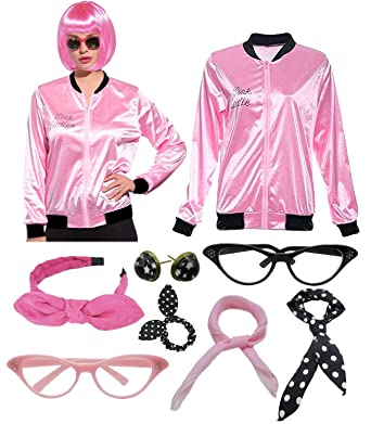 2a4c0adf27 Women 1950s Plus Size Grease Pink Satin Ladies Jacket Hen Party Costume  with Scarf (S