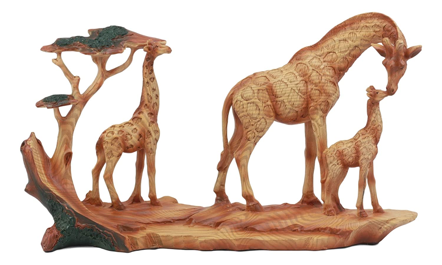 "Ebros Safari Giraffe Family Statue 12""Long Faux Wood Resin Three Giraffes in Wilfdlife Savanna Scene Figurine"
