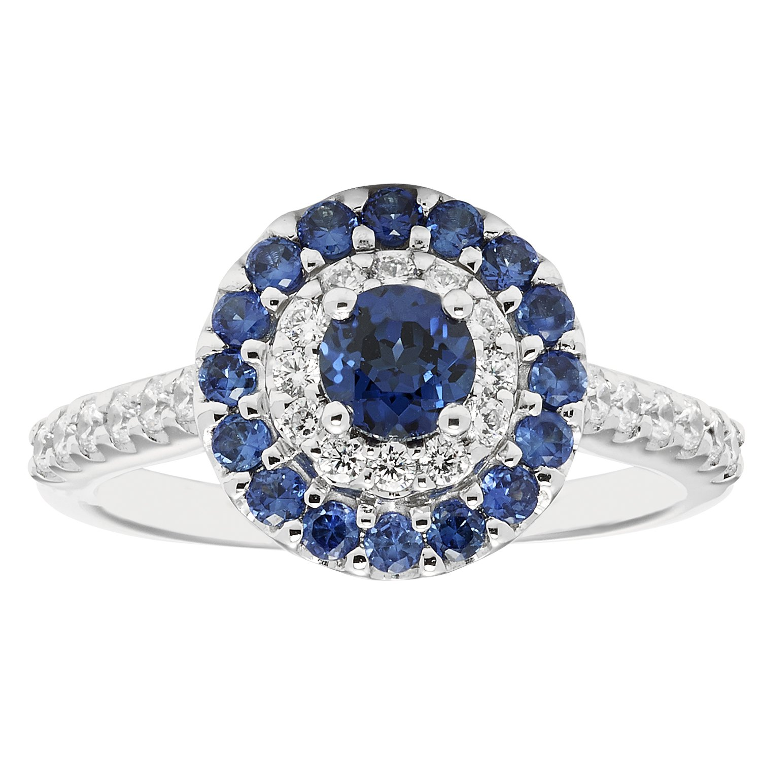 14K White Gold Genuine Blue Sapphire & Diamond Double Halo Bridal Engagement Ring (1.19 ctw, I Color, I1 Clarity)