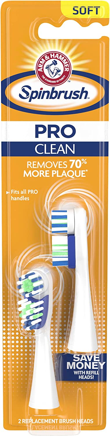 Arm & Hammer Spinbrush Pro Series, Clean Electric Toothbrush Replacement Brush Heads Refills, Soft Bristles, 2 Count - 4 Pack. (Includes 8 Replacement Brush Heads Total.)