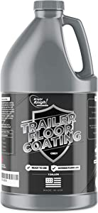 Trailer Floor Coating - Protects Flooring from Liquid, Water & Gas Spills - Easy Application on Plywood, Treated Wood, Metal - Thick, Non-Slip, Textured Satin Finish - Wooden Covering (Gray, 1 Gallon)