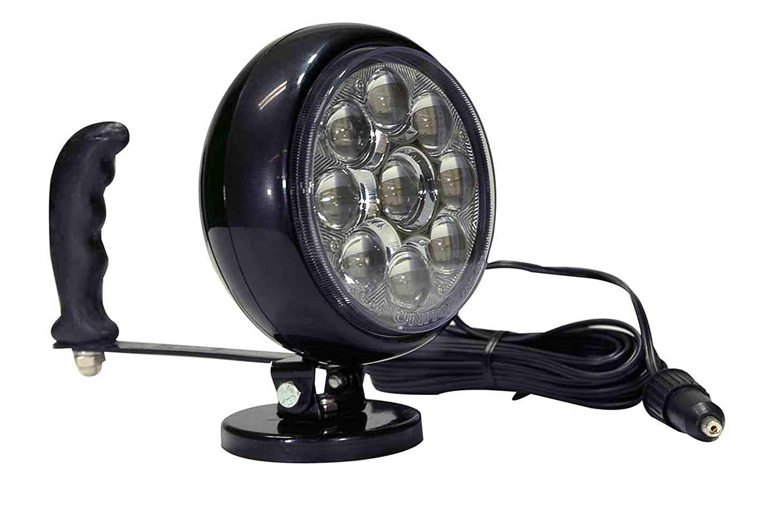 Hand Magnetic LED Spotlight Larson Electronics 0321OXALRO4 -Ring Terminals 215,000 candlepower Adjustable Tilting Base 30 Watts