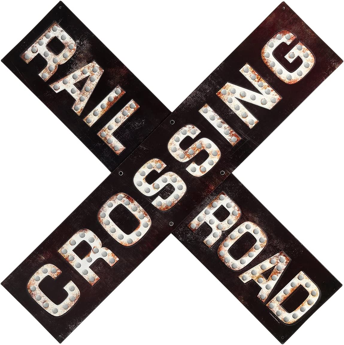 Open Road Brands Railroad Crossing Prismatic Embossed Metal Sign - an Officially Licensed Product Great Addition to Add What You Love to Your Home/Garage Decor