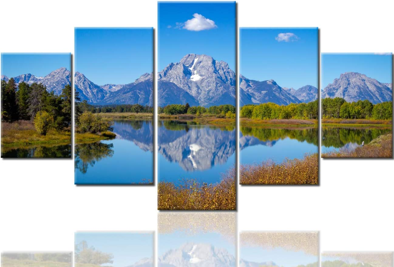 Landscape Pictures Grand Teton Mountains Paintings 5 Panel Canvas USA Wall Art United States Contemporary Artwork Wyoming Home Decor for Living Room Framed Stretched Ready to Hang(60''Wx32''H)