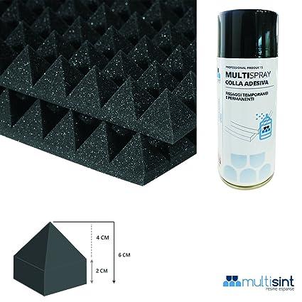 multisint – Paneles absorbentes piramidales 50 x 50 x 6 cm Densidad 18 + pegamento multispray