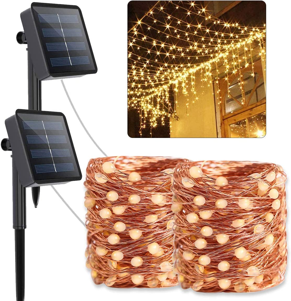 2020 Upgraded Outdoor Solar String Lights Oversize Lamp Beads Ultra-Bright 72ft 200LED , 8 Mode Solar Powered Waterproof Fairy Lights for Patio Garden Yard Party Warm White 2 Pack