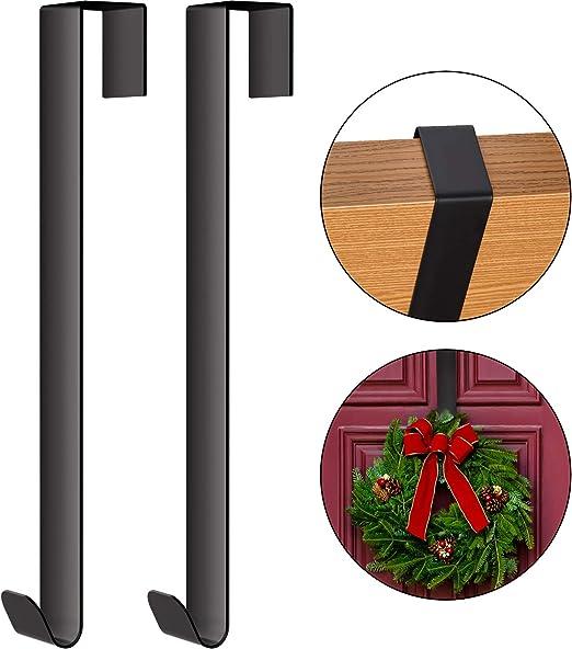 Wreath Hanger for Indoor and Outdoor Display Black, 1 Pack Metal Wreath Hanger for Christmas Home Office Wall Wedding Door Decor Hook Wreath Hook Hanger 15 Inches