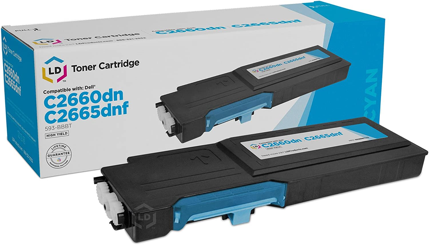 LD © Dell Compatible 488NH (TW3NN) Cyan High Yield Toner Cartridge Includes: 1 593-BBBT Cyan for use in Dell Color Laser C2660dn, and C2665dnf Printers