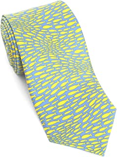 product image for Josh Bach Men's Silk Necktie, School of Fish Tie in Light Blue, Made in USA