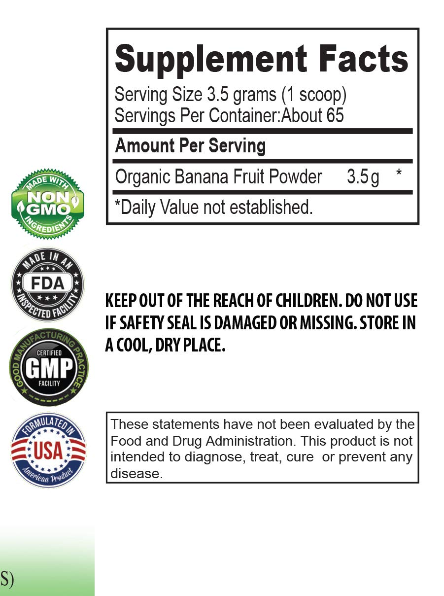 Blood Pressure Vitamin Supplements - Banana Fruit Organic Powder - Digestive Wellness - 3 Cans 24 OZ (195 Servings) by VIP VITAMINS (Image #2)