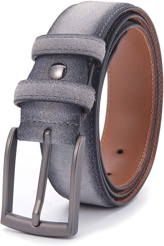 Ground Mind Ceinture en cuir /à la mode en daim de 34 mm de large avec boucle /à ardillon pour costumes//jeans//tenue d/écontract/ée//formelle