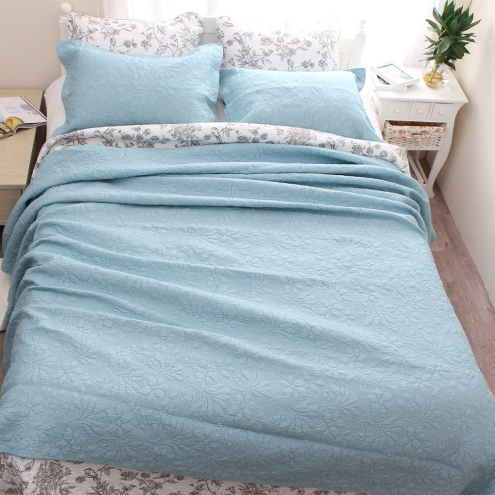 YaYi Solid Quilt Sets with Shams Reversible Soft 100% Cotton Quilted Bedspread and Coverlet Sets King Size(106''x98'') 3 Piece Bedding Collection Hypoallergenic All-season Blue by YaYi (Image #4)