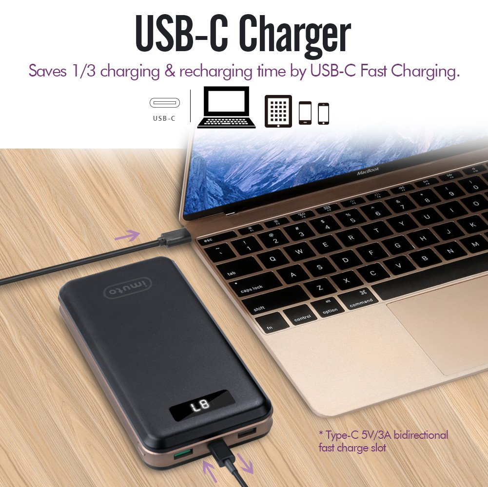 iMuto Portable Charger 30000mAh, Qualcomm Quick Charge 3.0 and USB-C Type-C Ports Power Bank External Battery Pack for Samsung Galaxy S9/S8, Note 8, iPhone X/8/7/6/Plus, iPad, Nintendo Switch and More by imuto (Image #3)