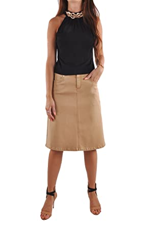 59aed038bf171a Style J Simple Khaki Denim Skirt-Khaki-36(16) at Amazon Women's ...