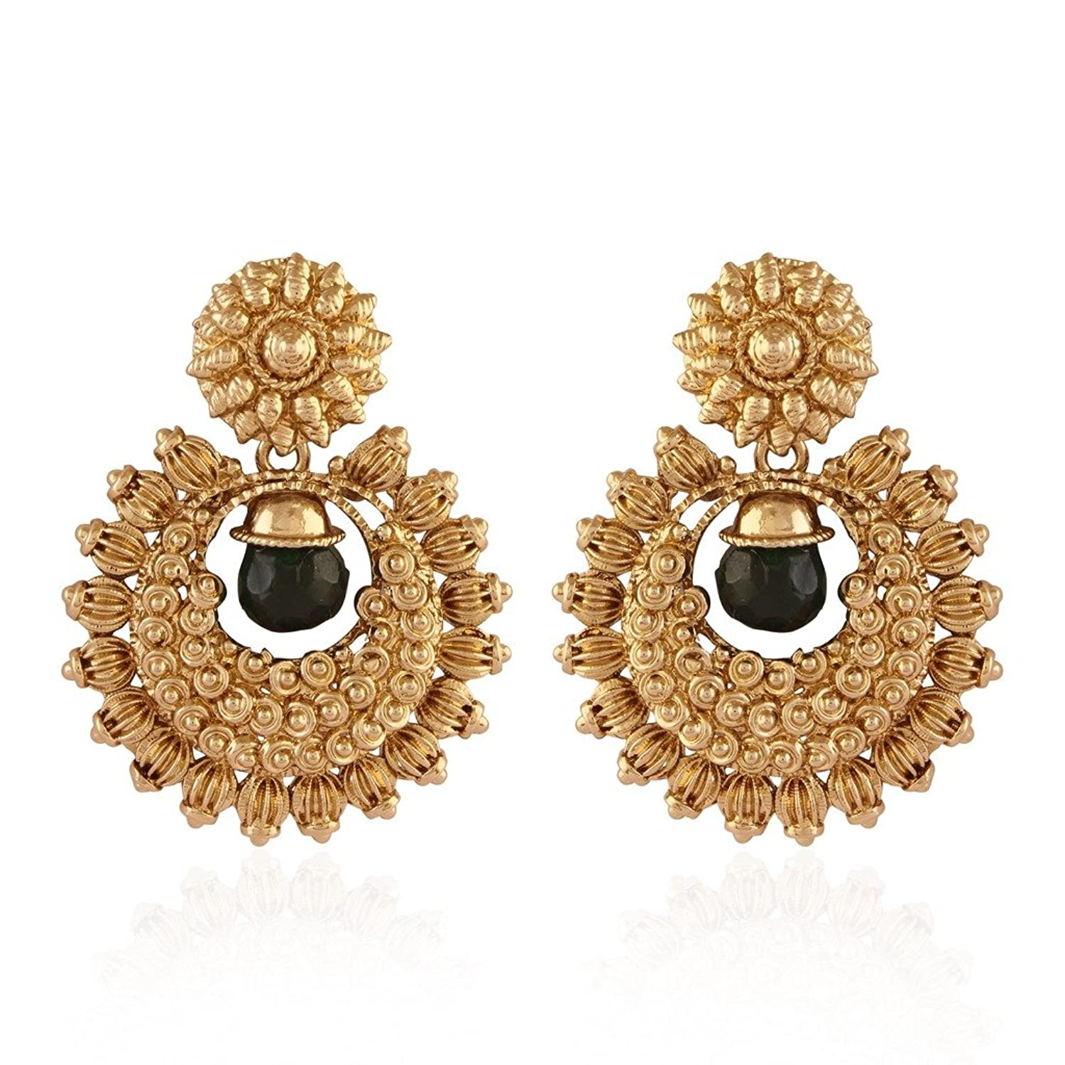 Buy I Jewels Traditional Gold Plated Chand Shaped Temple Earrings ...