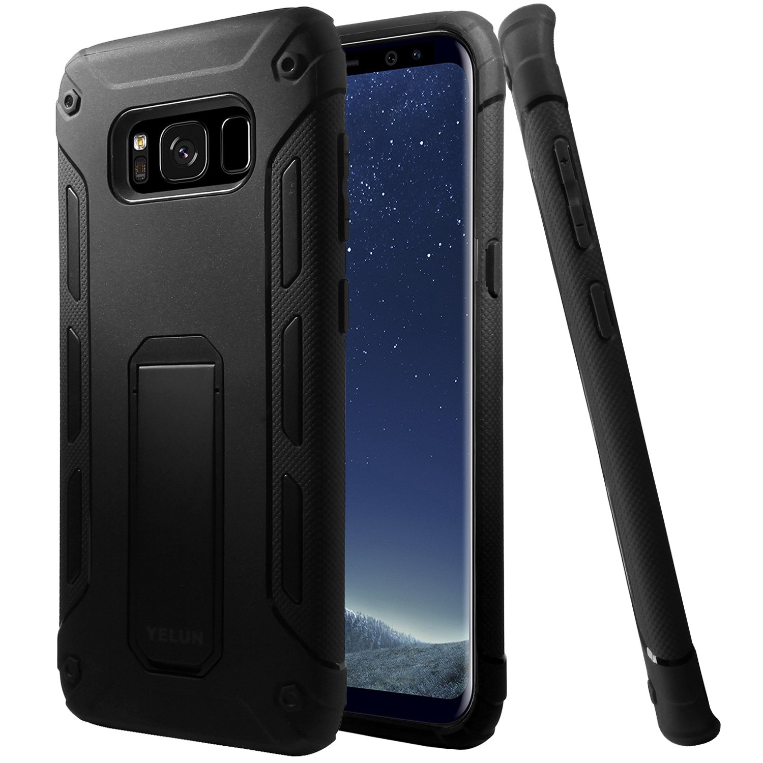 Galaxy S8 Case,YELUN[Heavy Duty]Shockproof Slim Fit Dual Layer Soft TPU & Hard PC Rugged Holster Cover Full-body Protective Bumper Case with Kickstand for Samsung Galaxy S8 (Black)