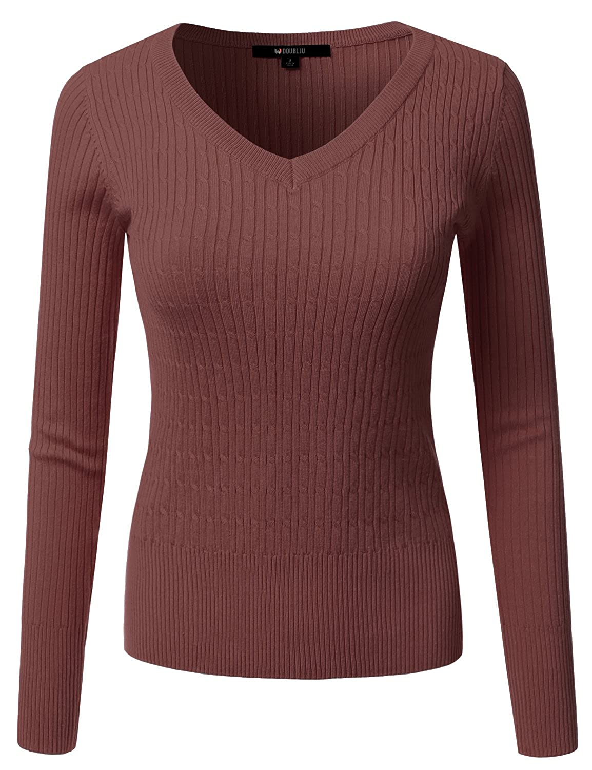 Awoswl0226_redbean Doublju Slim Fit Twisted Cable Knit VNeck Sweater For Women