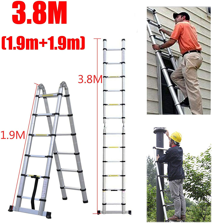 Escalera telescópica de 3,8 m (1,9 m + 1,9 m) de aluminio, escalera plegable multiusos compacta para interior y exterior, escalera de trabajo, escalera de seguridad, carga máxima de 150 kg: Amazon.es: Bricolaje y herramientas