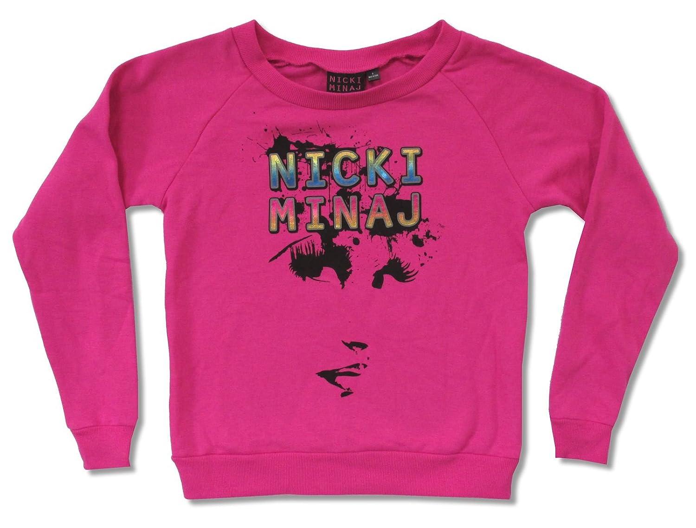 Juniors Nicki Minaj Face Pink Crewneck Sweatshirt
