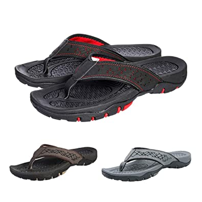 a485e13d0b4d7 gracosy Mens Flip Flops Shoes, Summer Slip On Beach Walking Sandals Leather  Casual Comfy Post Thong Clip Toe Orthotic Sandals Outdoor Lightweight Flat  ...